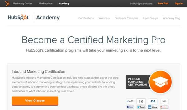 Hubspot's Social Inbound Marketing Certification.