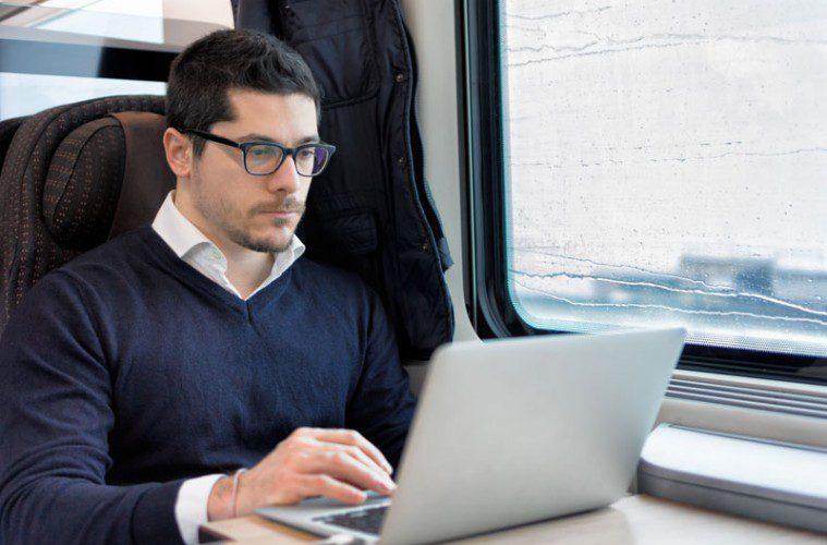 Mobile Entrepreneur On A Train