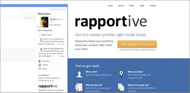 Rapportive Social Profiles