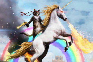 Cat Riding A Unicorn