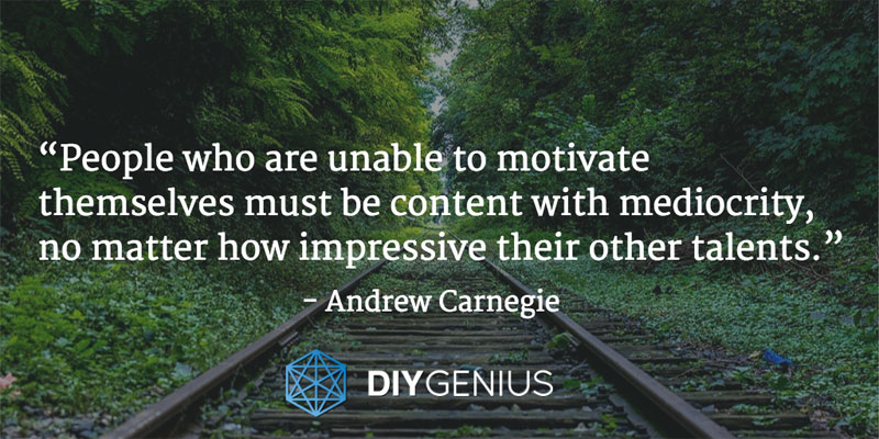 """People who are unable to motivate themselves must be content with mediocrity, no matter how impressive their other talents."" - Andrew Carnegie (Quote)"