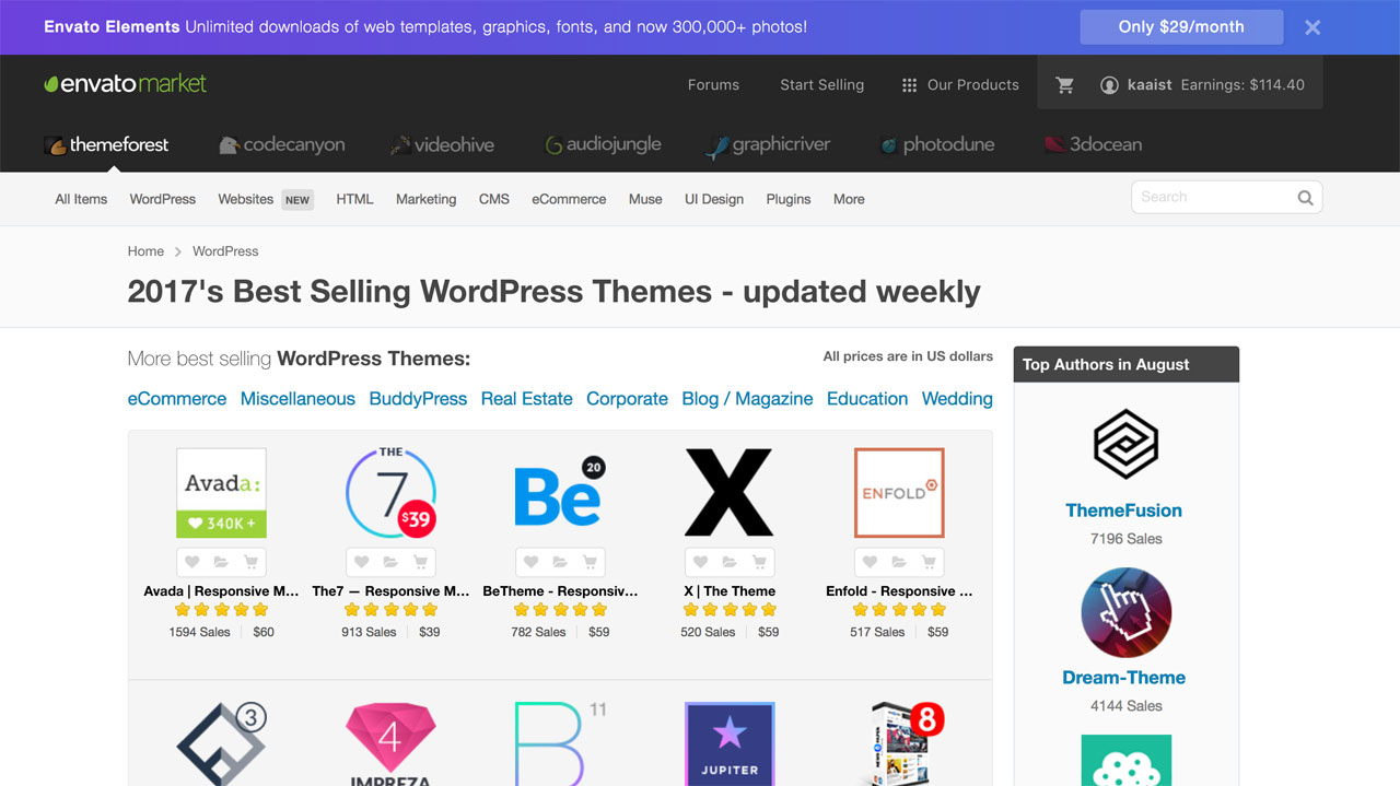 Themeforest's Popular Themes
