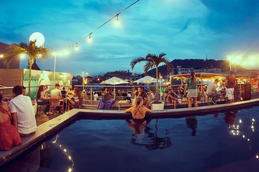 Selina Casco Viejo has a great coworking space and a rooftop pool and lounge overlooking Cerro Anton and Panama City's skyline.