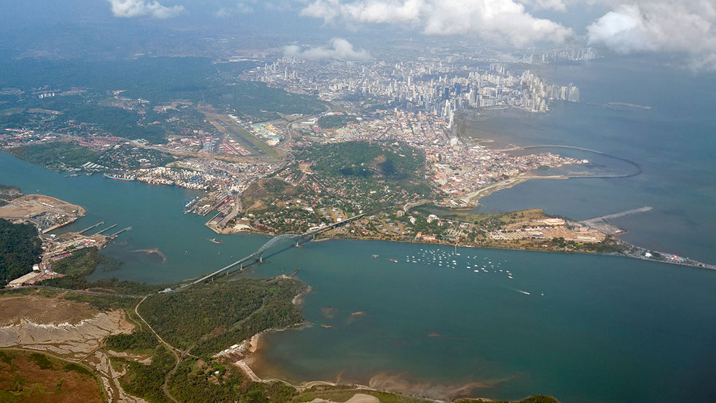 Panama City And The Canal Aerial View